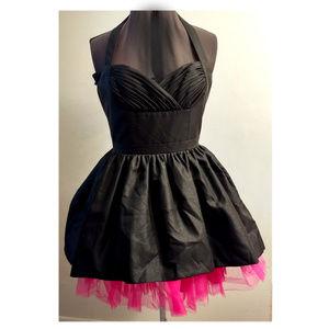 Betsey Johnson Black Halter Pink Tulle Dress Sz 8